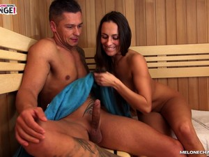 Sauna One On One Action With Busty Brunette Mea Melone