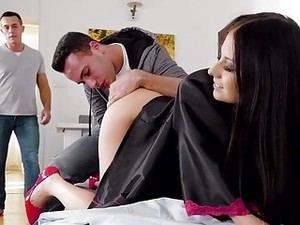 Brunette MILF Is Impaled Hard In Front Of Her Husband