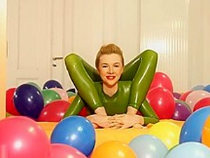 Flexy Sexy Green Rubber Catsuit Blonde Bare Feet & Bendy Positions