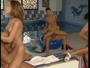 Sexy Teen Sluts Having Group Sex By The Pool