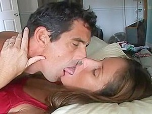Couple Erotic Deep Sensuous Tongue Kissing In Bed.