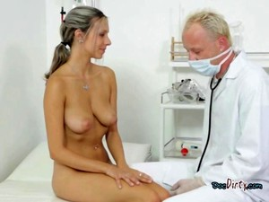 Teen Honey With Plump Natural Tits Licked By Her Gyno Doctor