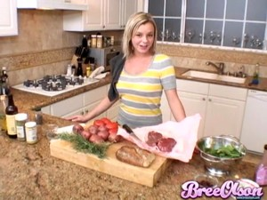 Dazzling Blonde With A Food Fetish Busy In The KItchen