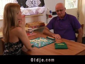 She Plays A Board Game With An Old Guy Then Lets Him Fuck Her
