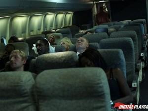 Smoking Hot Asian Stewardess Spit Roasted On The Plane
