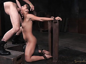 Skinny Bound Girl Gags On A Dick In Her Throat