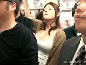 Hot Japanese Woman Gets Fingered In A Crowded Train