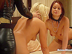 The Education Of Erica: Leather Uniform And Golden Strapon For Two Lesbian Slaves