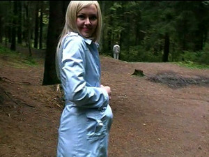 Fantastic Blonde Russian Exhibitionist Girl Shows Her Goodies In The Park
