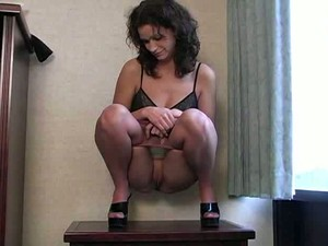 My Shameless MILF Girlfriend Shows Off Her Fat Pussy On The Table