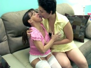 Cute Short Haired Whore And Ugly Milf Having Lesbian Sex On The Couch