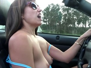 Masturbation And Orgasm In The Car While Driving