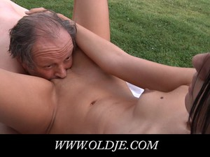 Skinny Tall Teen Tricks Old Codger For Fuck
