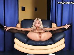 Platform Heels And Stockings On Slim Blonde