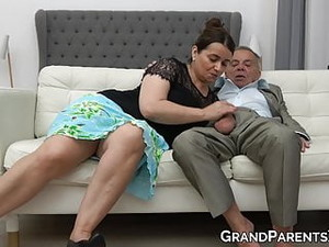 Old Couple Seduces Gorgeous Blonde Into Hot Cock Sucking