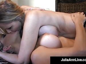 Busty Blonde Bombshells Julia Ann & Vicky Vette Tongue Fuck!