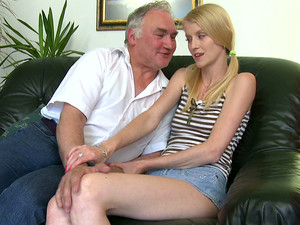 Skinny Blondie In Jeans Miniskirt Is Lured By A Horny Grandpa